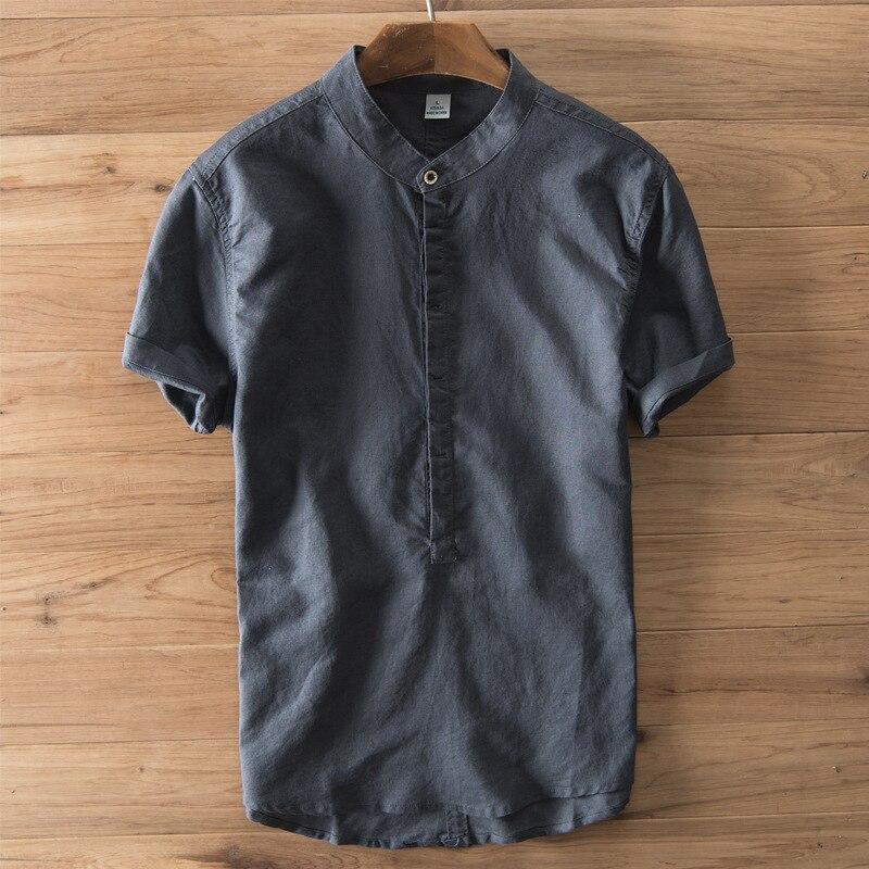 Летние повседневные мужские рубашки с коротким рукавом и кнопками, хлопковый льняной пуловер, однотонные рубашки для отдыха, дышащие винтажные топы, m-3XL
