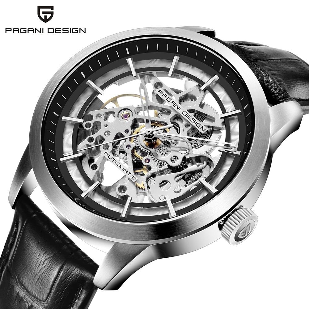 PAGANI DESIGN-ساعة يد رجالية ميكانيكية فاخرة ، عرض خاص ، هيكل عظمي ، جلد ، 2019