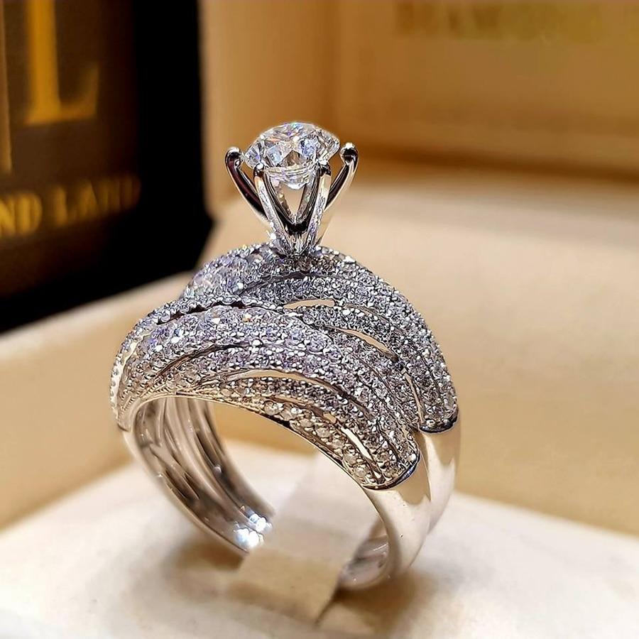 Boho Female Crystal White Round Ring Set Brand Luxury Promise 925 Silver Engagement Ring Vintage Bridal Wedding Rings For Women