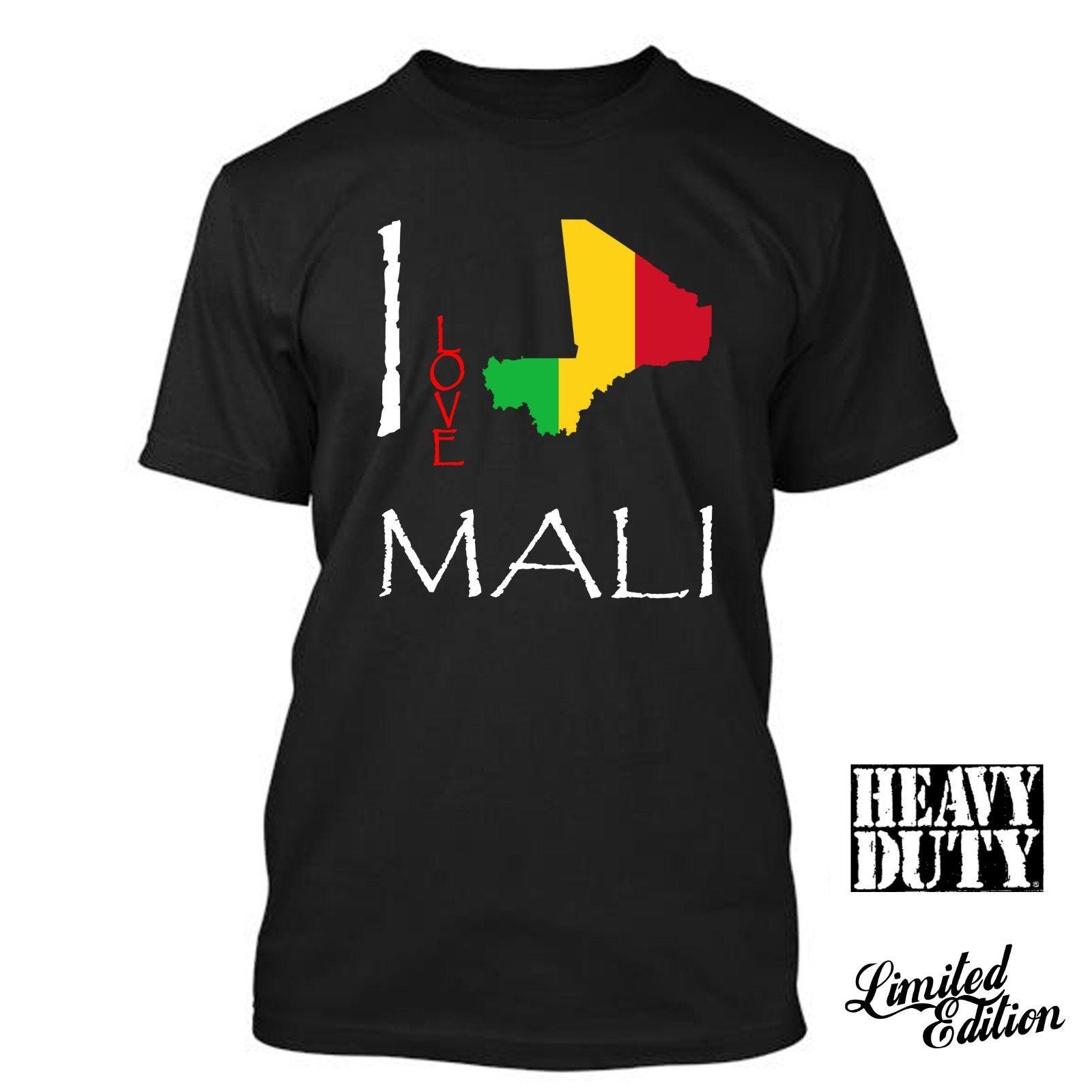 Print Tees Short Sleeve O-Neck MALI I Love Culture Flag T SHIRT TEES Men Summer Style