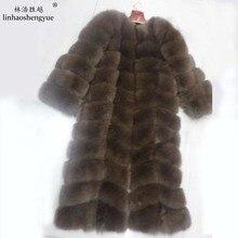 Linhaoshengyue Length 120CM long-sleeved brown real fox fur coat
