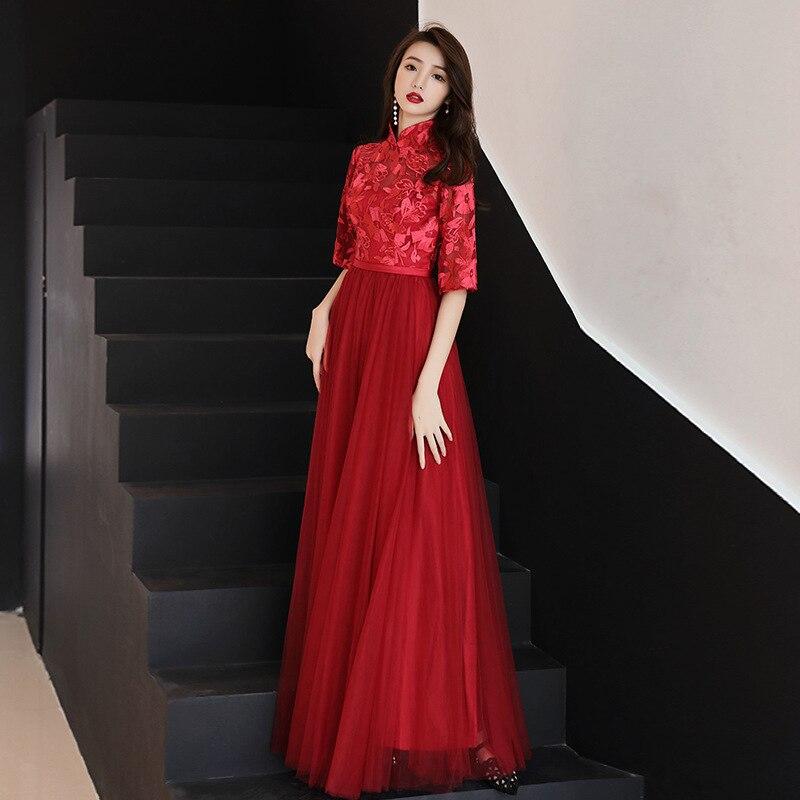 Vestidos de estilo Oriental de encaje Borgoña novia china Vintage tradicional boda Cheongsam vestido largo Qipao talla grande 3XL