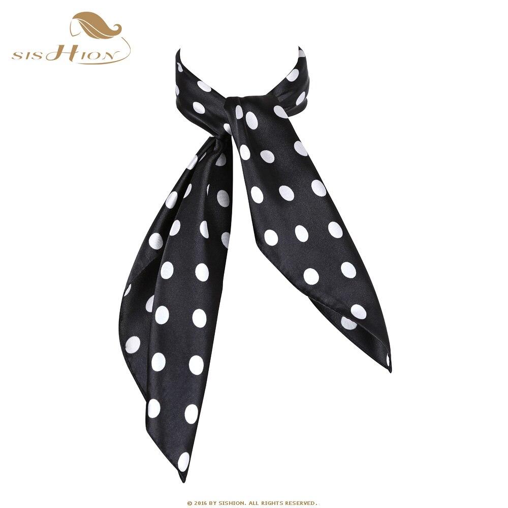 Bufanda SISHION para mujer, 60cm x 60 cm, bufanda cuadrada de lunares para mujer, bufandas en imitación de seda, azafata Azafata, pañuelo de oficina para mujer