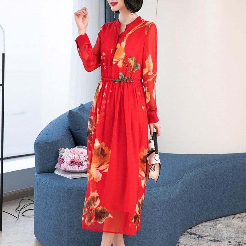Vestidos naturales de seda Mulberry 2019, vestido de noche de fiesta para mujer de talla grande de manga larga, maxi vestido de primavera con botones, dibujo de cuello