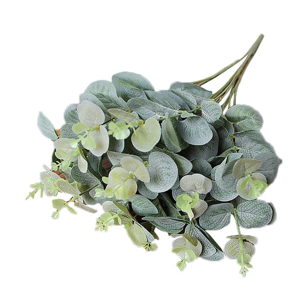 Folhas artificiais verdes de decoração, eucalipto, deixe simulação plantas, festa de casamento, decoração de casa, decoração falsa