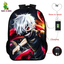 Mochila de Anime japonés de 16 pulgadas, mochila para Cosplay, mochila escolar de hombro bolsa de ordenador portátil Tokyo Ghoul, mochila para niños, mochilas de viaje