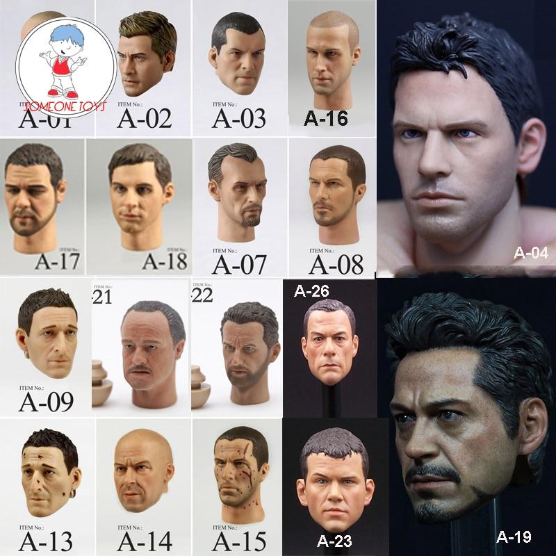 1/6 Male Head Sculpt Chris Jake Gyllenhaal Jason Stanson Tbag Matt Damon jean-claude van   damme For 12 Inches Acrion Figure