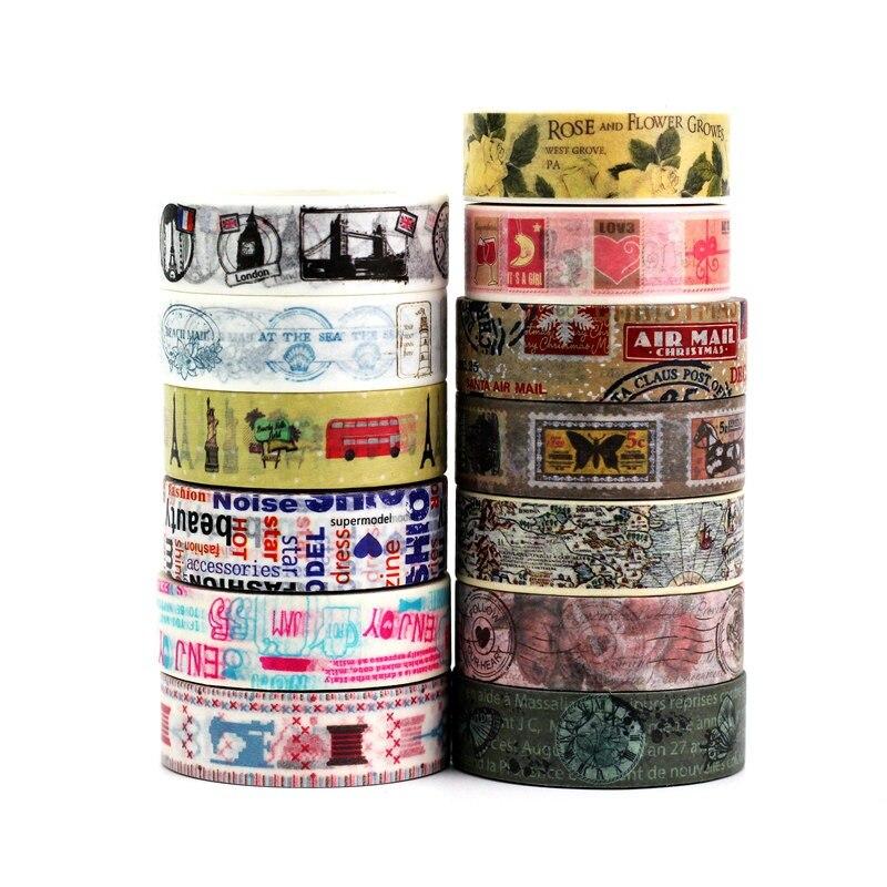 1.5cm x 10m decorativo retro washi fita conjunto de papel diy scrapbooking planejador vintage mapa selo fita adesiva artigos de papelaria
