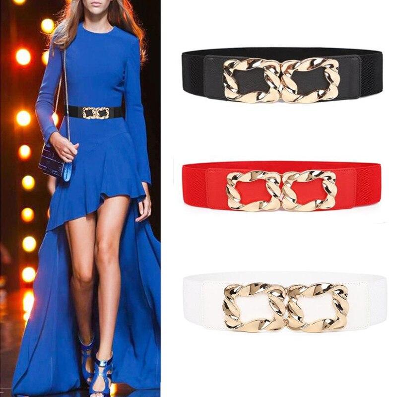 Preto venda quente moda feminina ampla elástico cós estiramento espartilho liga de ouro quadrado fivela cintos de cintura para acessórios de vestido