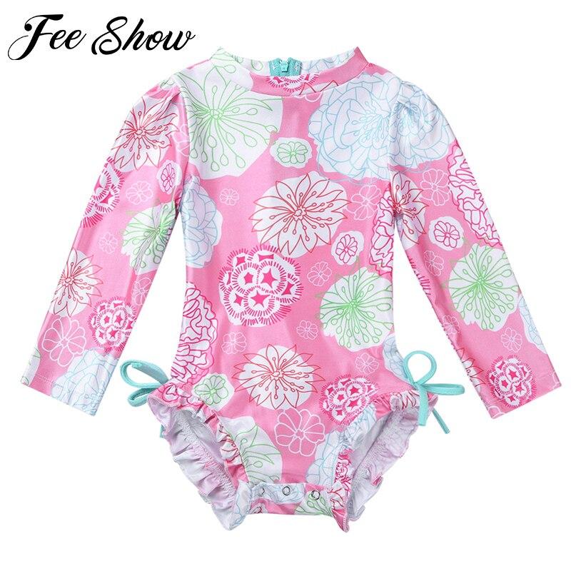 Recién Nacido bebé niño niñas Floral impreso de baño de una sola pieza traje de baño de playa erupción de manga larga de ropa