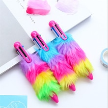 6 kolorów kreatywny śliczne Kawaii pluszowe długopis pisanie narzędzia szkolne studenci piśmienne długopisy na prezenty