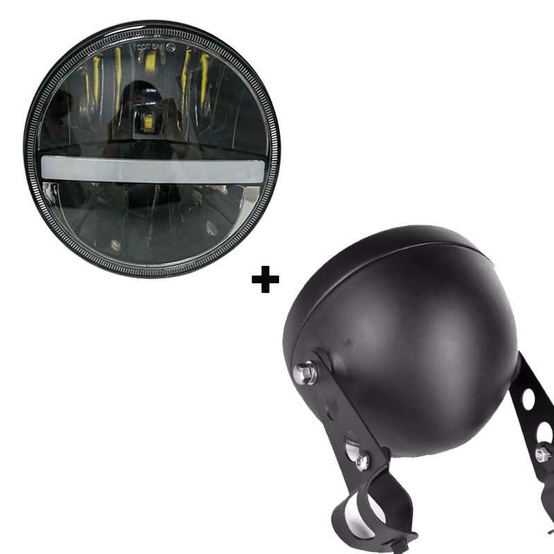 Faros reflectores de proyector de 5,75 pulgadas 5 3/4 pulgadas 883 LED redondos para motocicleta, faros delanteros de cubo DRL para luz de Indian, scout