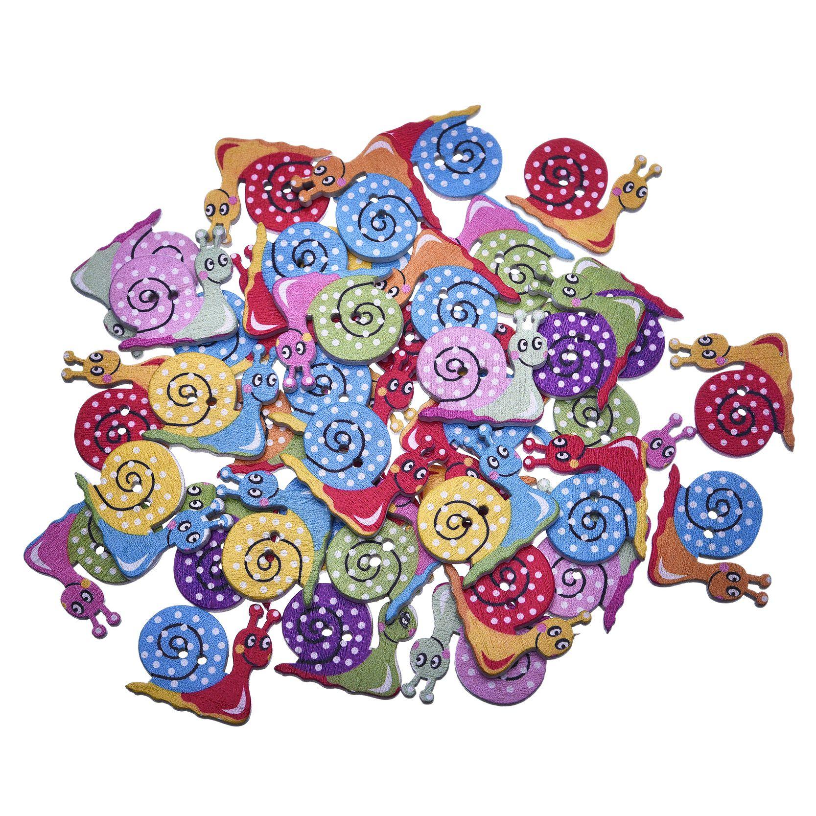 Nova moda botões de madeira botões 50 pçs multicolorido caracóis 2 buracos aleatória misto botões de costura scrapbook