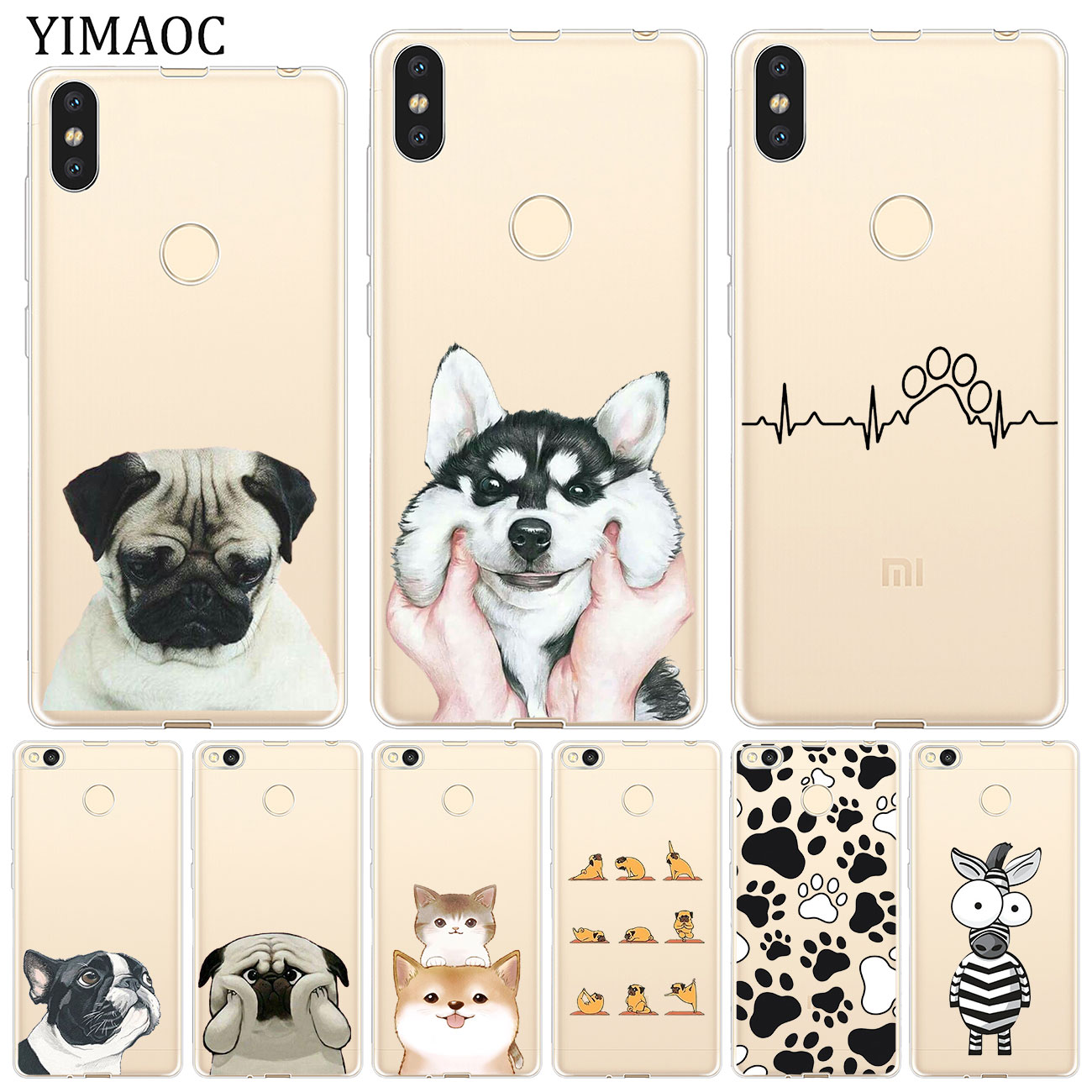 YIMAOC dog Paw Husky pug  corgi Soft Case for Xiaomi Mi 9 9T CC9 CC9E A3 Pro 8 SE A2 Lite A1 MiX 2S