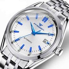 ساعة يد رجالية آلية من FNGEEN فاخرة من الفولاذ المقاوم للصدأ للأعمال ، ساعة يد للرجال ، ساعة مقاومة للماء