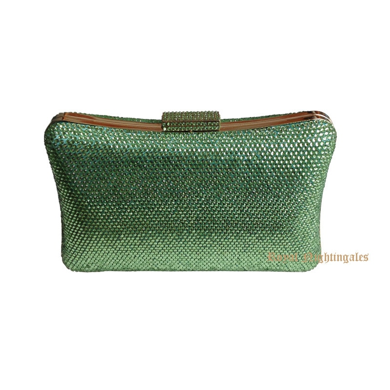 Bolso de mano de Metal verde con cristales para mujer, pochette de...