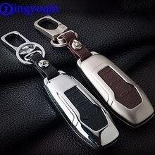 Jingyuqin télécommande 3 boutons en alliage de Zinc + housse de clé de voiture en cuir pour Ford Smart clé pliante Mondeo Focus Fiesta Ecosport Kuga