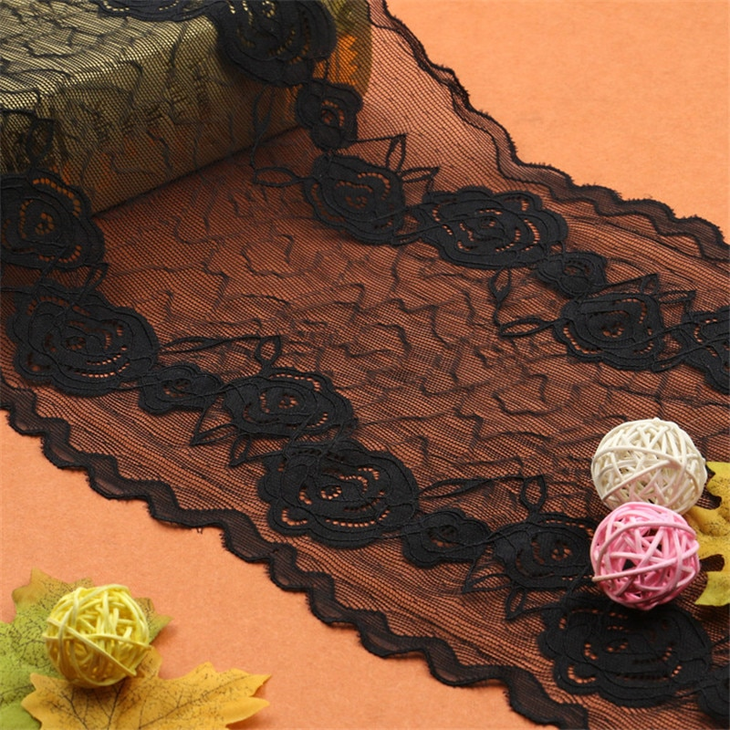 Free shipping 5yards/lot Width 23cm 2colors presser Elastic Lace Fabric DIY Garment Accessories,Wedding Lace,Lace Material