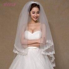Gasa de Mariage tul blanco marfil boda velo de novia con borde de encaje con peine accesorios de la boda