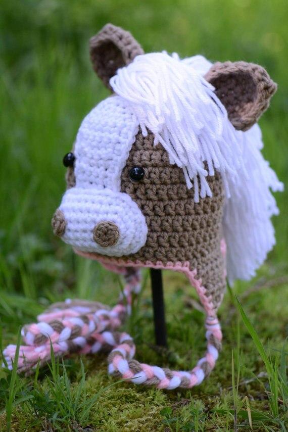 Neugeborenen Pferd Hüte mädchen Tier Hut, Häkeln Pferd Hüte mit Ohr Klappen, Pony Hut, Winter Kappe, neugeborenen zu Erwachsene, auf Bestellung