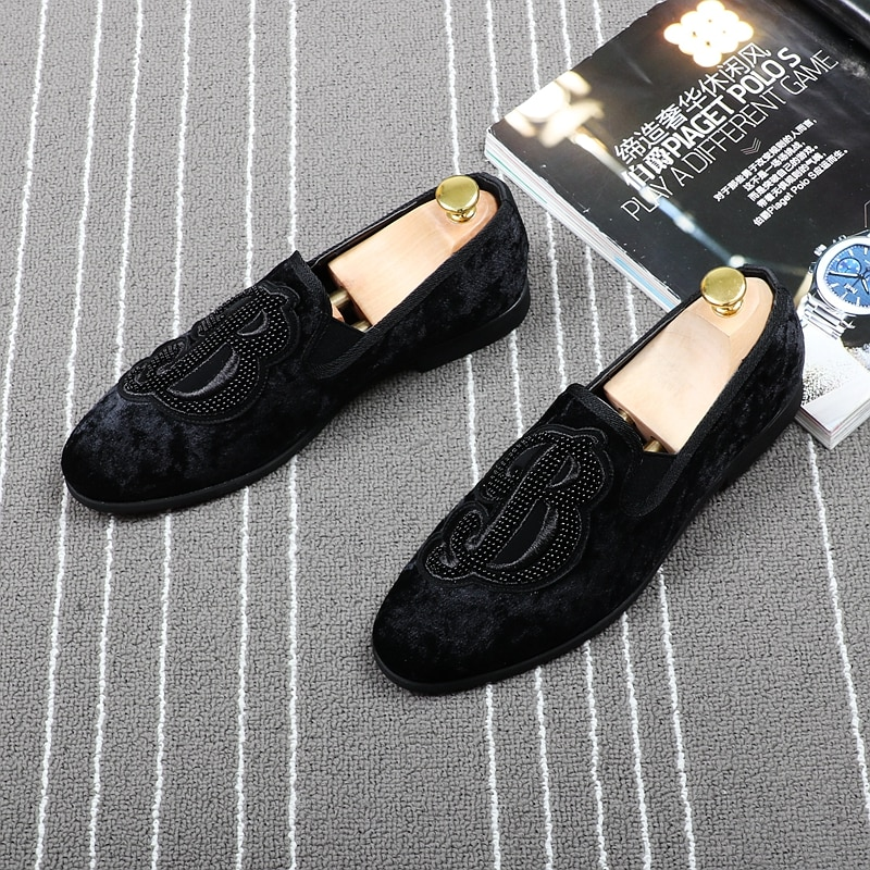 CuddlyIIPanda-حذاء موكاسين مخملي مسطح للرجال ، حذاء موكاسين عصري مطرز للحفلات والمسرح