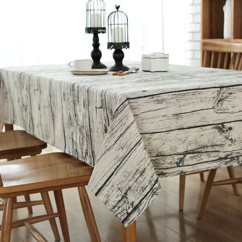 Nuevo envío gratis mantel de lino de algodón de grano de madera, mantel de encaje estampado, mantel a prueba de polvo, mantel para mesa de té