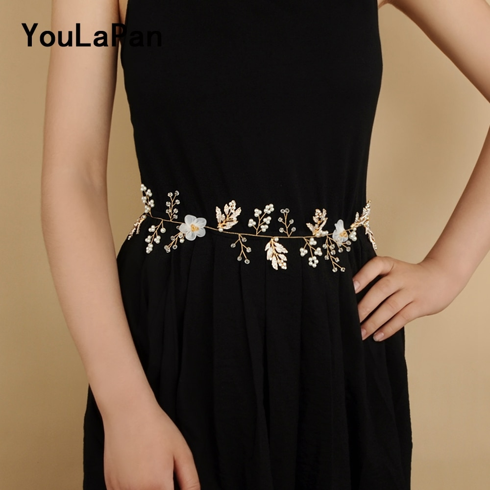 YouLaPan SH72 folhas Douradas cinto cinto de noiva de Pérolas de Cristal da flor Do Casamento Correia da Faixa de Casamento para A Noiva pérola flor folha sash