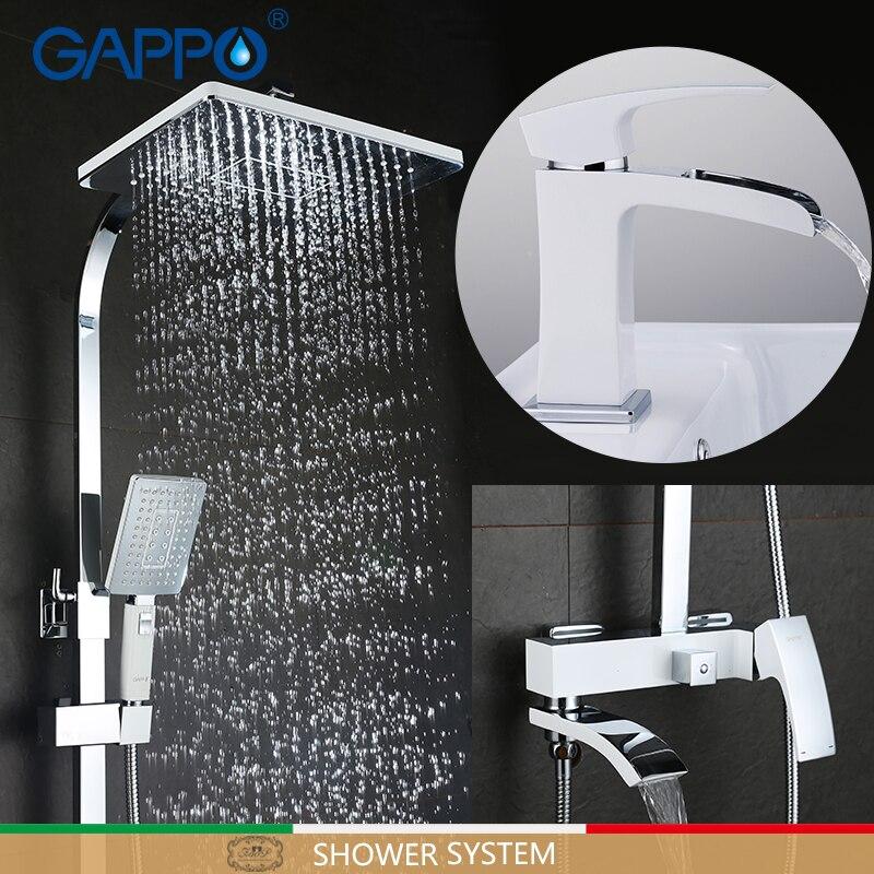 GAPPO-نظام دش مع خلاط للحمام ، صنبور نحاسي مع خلاط للحمام ، كروم وأبيض