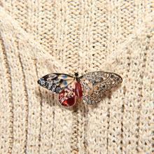 1 Uds., diseño creativo de moda, colorido Diamante de imitación, forma de mariposa, insecto, Color dorado, accesorios de joyería de Metal, broches para bufandas Pin