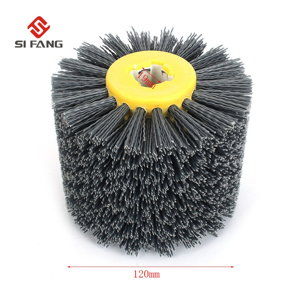 wire drawing machine grinding wire drawing wheel polishing brush polishing wheel brush roller bristle brush grit brush 80 hx6c Deburring Abrasive Wire Drawing Round Brush Head Polishing Grinding Buffer Wheel Nylon Burnishing Wheel Brush  for wood working
