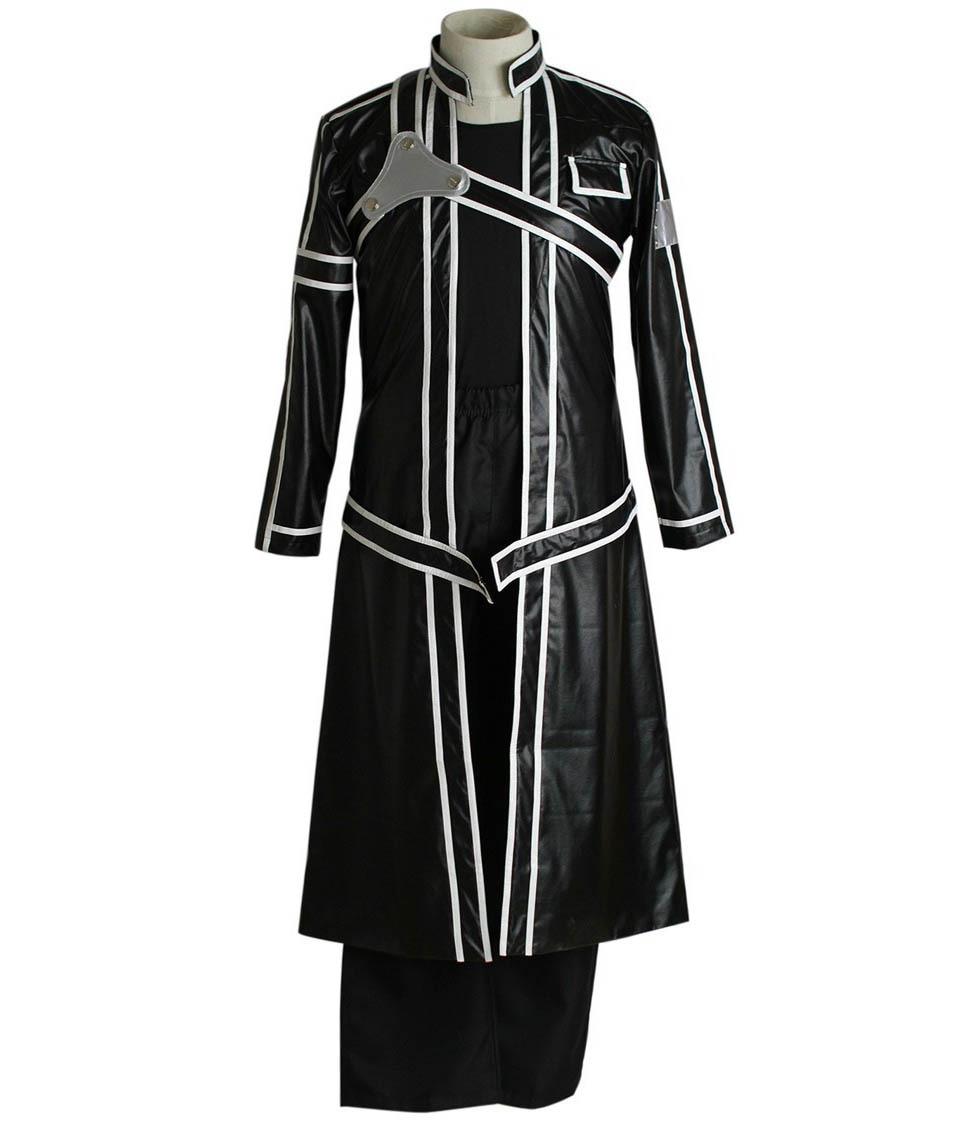Espada arte Online Kirito conjunto completo de cuero de la PU de disfraz para niños Cosplay ropa de disfraces de Halloween hombre uniforme chaqueta + camisa + Pantalones + cinturón