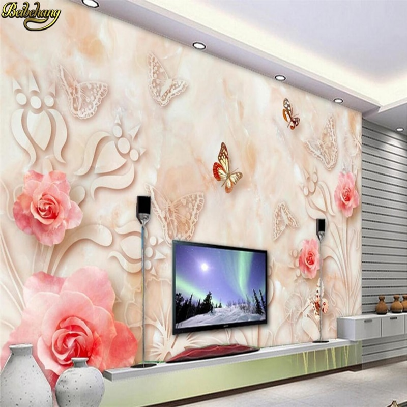 beibehang Custom photo wallpaper mural European marble relief rose 3D stereoscopic TV background wall papel de parede paper