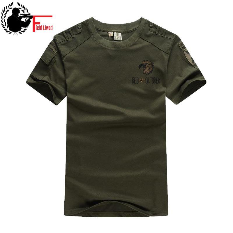 Camiseta de manga corta de estilo militar para hombre, camiseta de combate verde militar de talla grande, camiseta Casual, Camiseta con cuello redondo para hombre