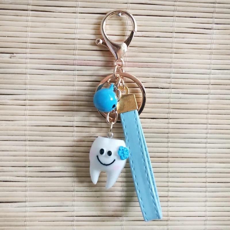 Dessin animé dents porte-clés dentiste décoration porte-clés hommes porte-clés femmes porte-clés mignon forme clinique dentaire cadeau fille porte-clés