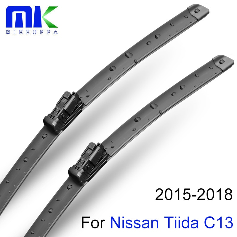 Mikkuppa frente e traseira lâminas de limpador para nissan tiida c13 2015 2016 2017 2018 borracha natural pára-brisa acessórios do carro automóvel