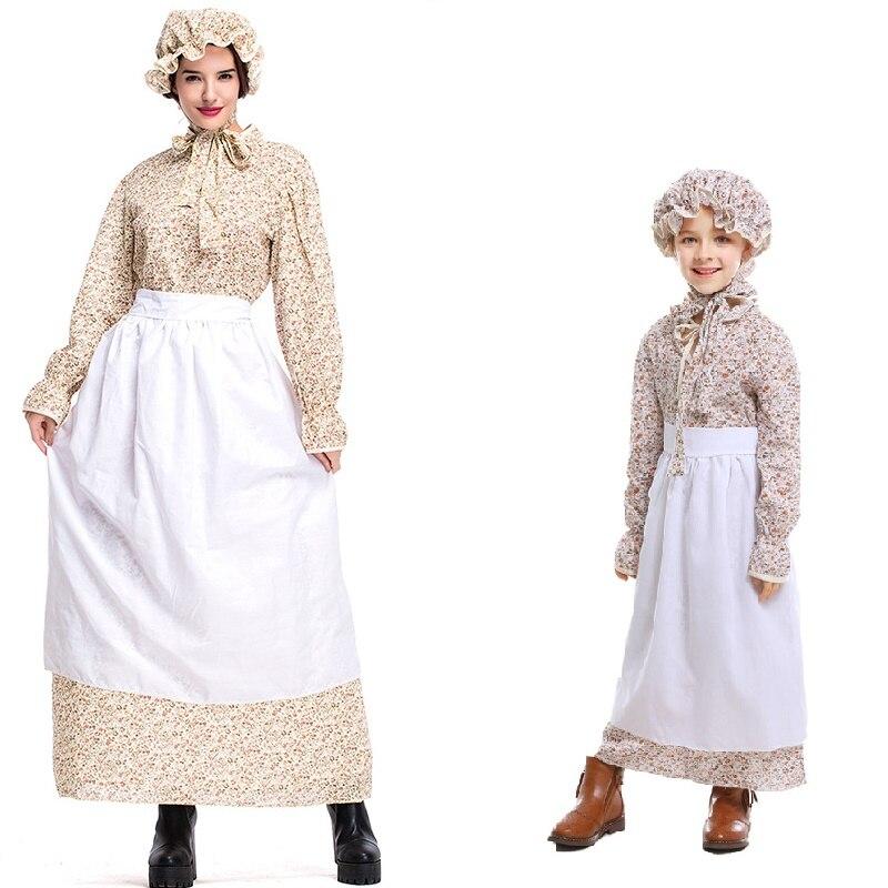 2019 nuevas mujeres y niños Lolita vestido victoriano pionero peregrino Wench Rural Floral pradera guerra Civil adultos vestidos Colonial