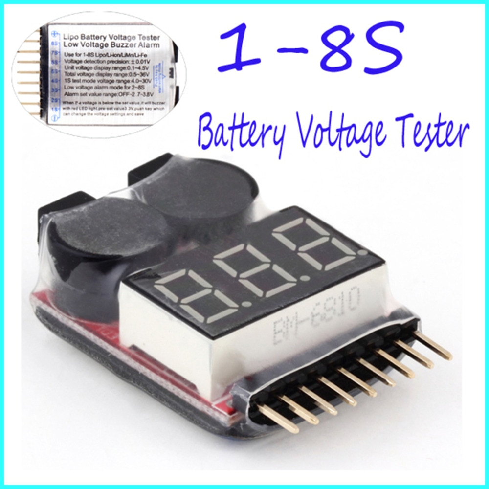 2 IN 1 1-8S Lipo/Li-ion/Fe Battery Voltage Tester Low Voltage Buzzer Alarm Checker For Vehicles & Remote Control Toys 2pcs 1pcs bx100 1 8s lipo battery voltage tester low voltage buzzer alarm battery voltage checker with dual speakers