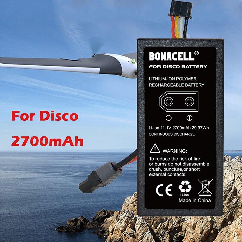 Bonacell 2 шт. 2700 мАч 11,1 В для Parrot Disco Drone Upgrade 3S литий-полимерный сменный аккумулятор