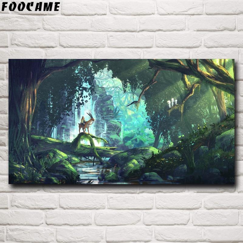 Фон для фотосъемки с героями мультфильма «Холодное сердце», Хаяо, Миязаки, Принцесса Мононоке, плакат в стиле аниме, фотокартина, Шелковое украшение для спальни, домашний декор