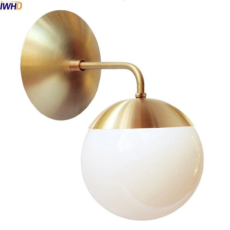 Iwhd nordic cobre moderno conduziu a lâmpada de parede casa iluminação interior do banheiro espelho luz bola vidro luzes parede luminárias arandela
