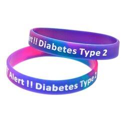 1PC Tipo de Alerta 2 Diabetes Pulseira de Silicone Adulto Tamanho