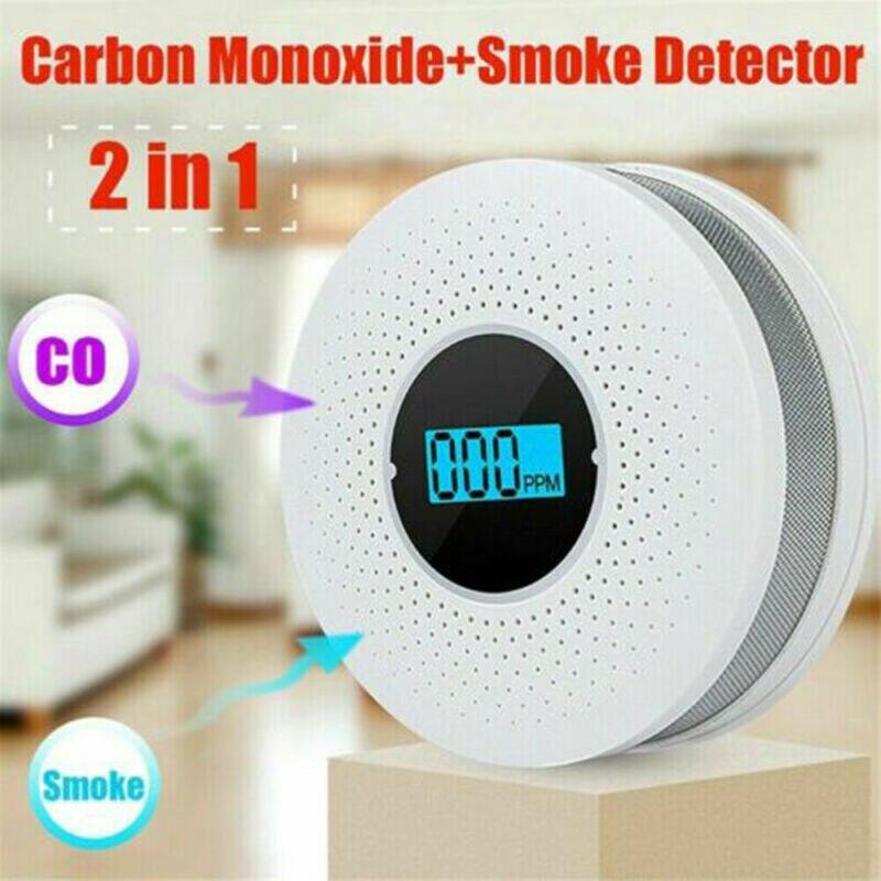 Alarme de fumo/LCD CO Monóxido De Carbono Detector de Fumaça de Alarme Integrado Avisar Sensor Detectores De Monóxido De Carbono