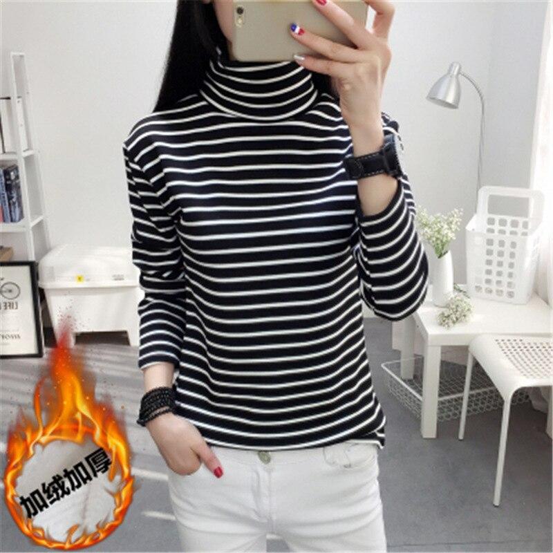 2019 Autumn And Winter Black White Striped Women T Shirt Female Long Sleeve High Collar Plus Velvet Thick Warm Female T Hirt