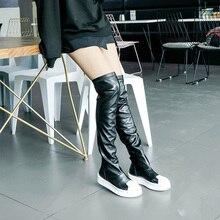 Koovan المرأة مثير قذيفة رئيس الأحذية للفتيات الشابات طالب الإفراط في الركبة الأحذية لفصل الشتاء الدافئة الهزيل الساقين السيدات الأحذية