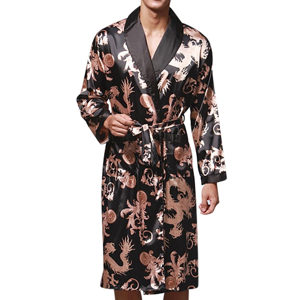 Mens Summer printing Silk Robes Male Senior Satin Sleepwear Satin Pajamas Long kimono Dressing Gown Bathrobe For Men #35