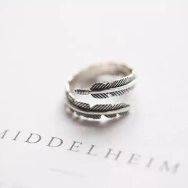 Хит, бесплатная доставка, винтажные открытые кольца с перьями и стрелами для женщин, тайское серебро 925 пробы, ювелирные украшения anel