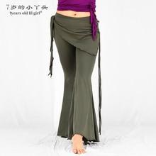 Pantalones de danza del vientre tribal fusion de LICRA de algodón tribal danza del vientre pantalones acampanados con falda BMM01-03