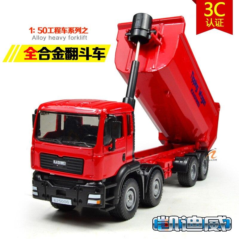 Liga de metal diecast brinquedo basculante vagão caminhão modelo amortecedor caminhão 150 inclinando carrinho de engenharia caminhão coleção ação brinquedos