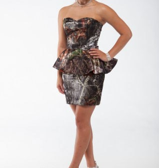 free shipping  strapless sweeheart  short camo peplum prom dresses  2017 new style custom make size