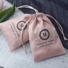 50 unids/lote bolsas de regalo de joyería bolsas de cordón de franela Rosa bolsas de embalaje de joyería de boda Favor bolsas de cosméticos puede personalizar el tamaño/Logotipo
